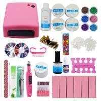 UV Gel Set For Manicure with 36W UV Lamp Cure All Gels for Solid UV Nail Gel Polish Manicure Set Tips Extension Set