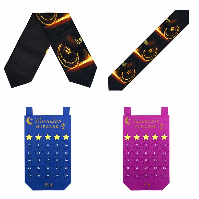 OurWarm Ramadan Mubarak Black Table Runner Ramadan Calendar Islamic Muslim Mubarak Party Supplies Eid Mubarak Decoration