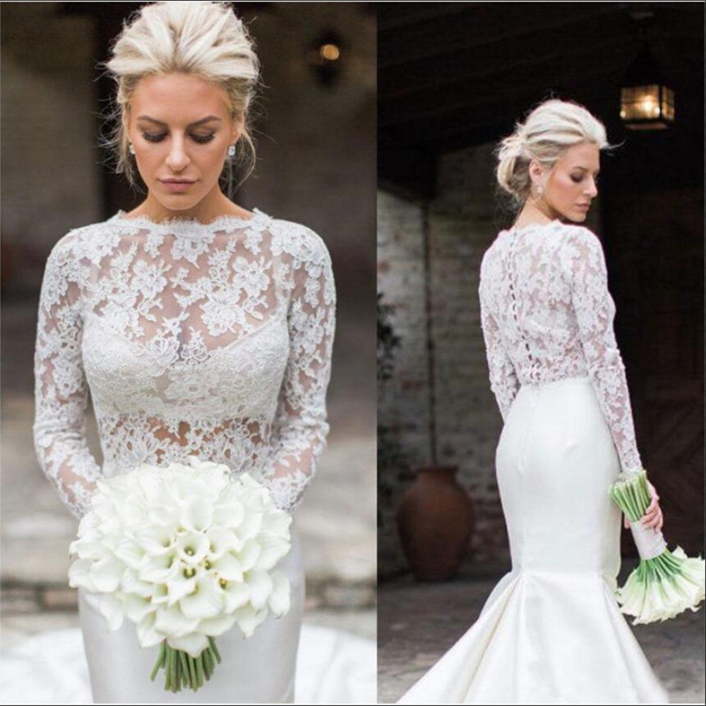 Long Sleeve Wedding Jacket White Ivory Bridal Bolero Jackets Wedding Top Lace Jewel Neck Wedding Wrap