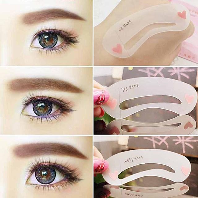3Pcs Makeup Tools DIY Eyebrow Template Stencil Reusable Grooming Eyebrow Stencil Kit Women Eye Brow Beauty Tools Accessories 1