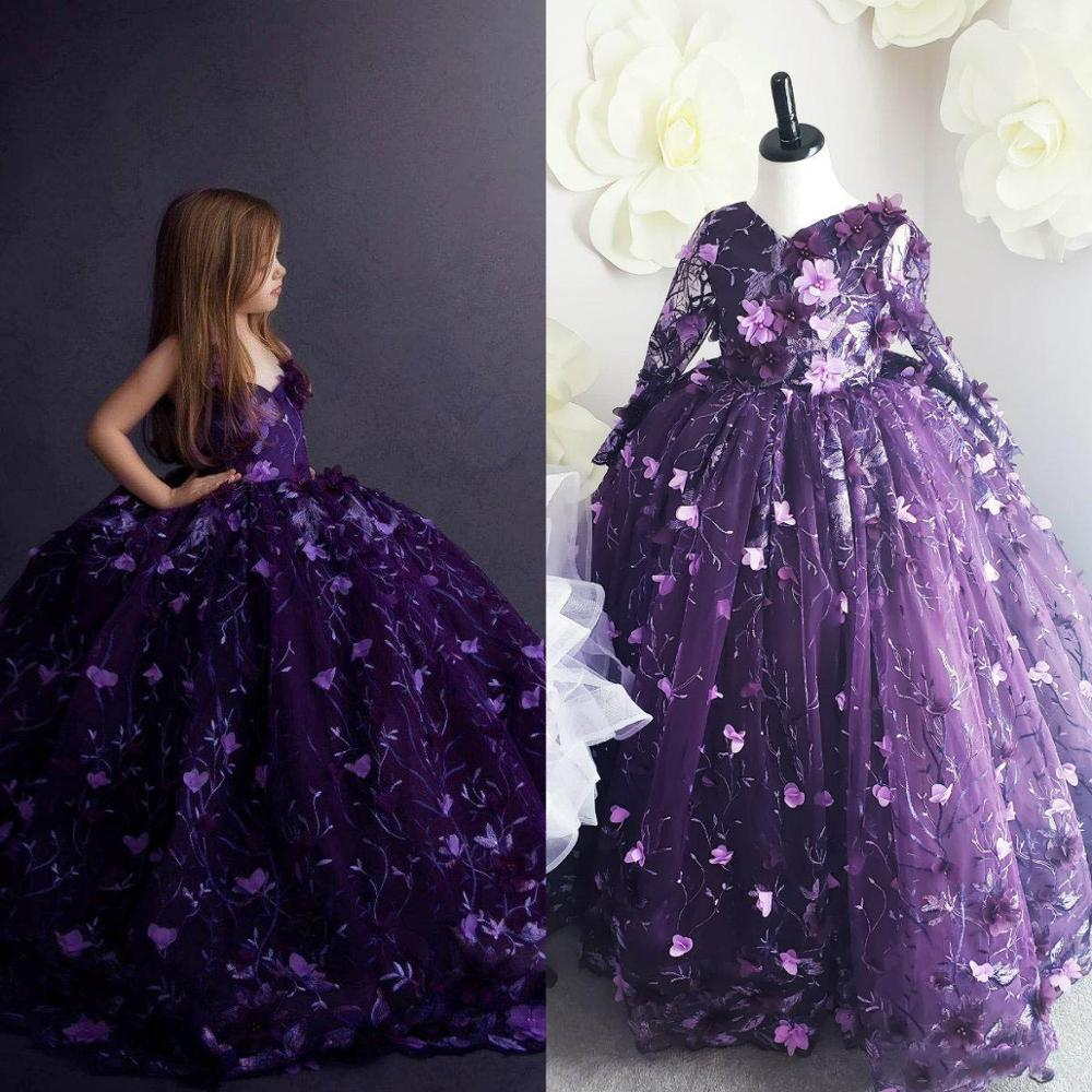 Cute Purple   Girls   Pageant   Dresses   V Neck Lace 3D Floral Appliques Ball Gown   Flower     Girl     Dresses   For Wedding Detachable Sleeves