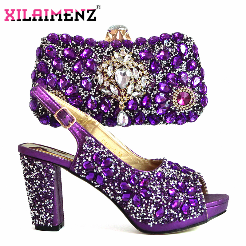 Image 2 - Mature Style in Purple Color African Women Shoeos and Bag to  Match Slingback Sandals with Shinning Crytal for Christmas PartyWomens  Pumps