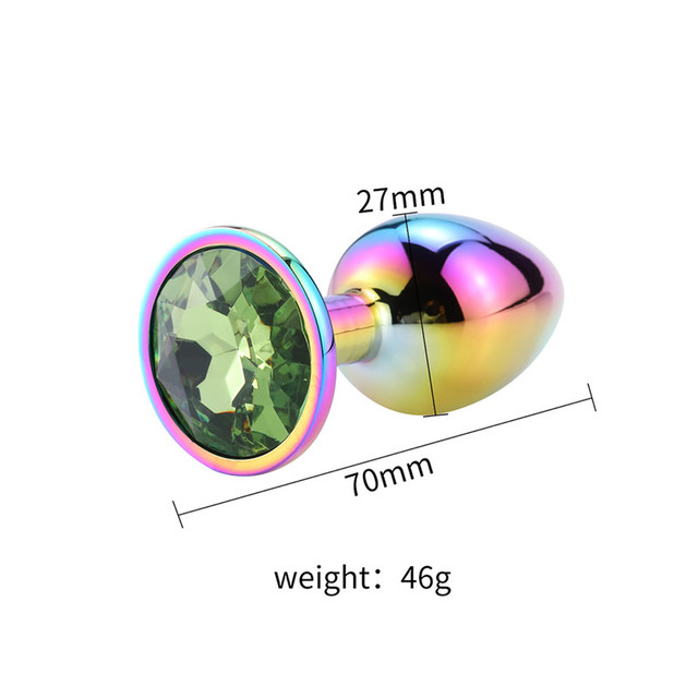Size Rainbow anal plug green diamond