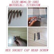 цена на 10pcs/lot M6*8/10/12/15/20/25/30/35/40/45/50/55/60/65/70/75/80/85/90/95/100 hex socket cap head Titanium screws titanium bolt134