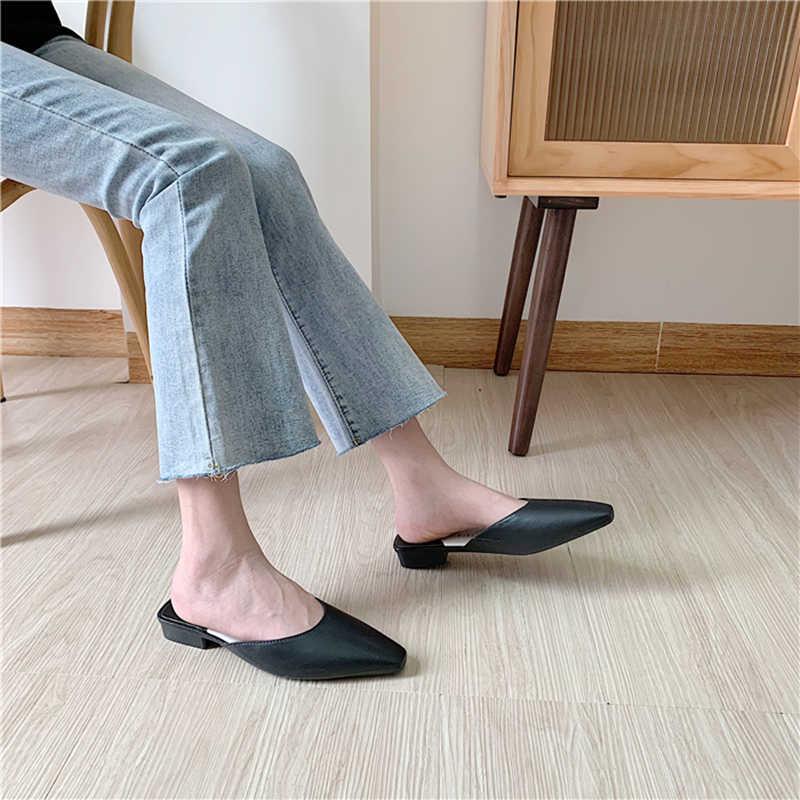 Thời Trang Mũi Nhọn Con La Nữ Giày Lười Nam Mùa Hè Màu Kẹo Bãi Trượt-Kỳ Nghỉ Giày Sandal Nữ Trượt PU Nữ Giày Nữ