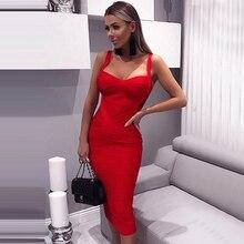 new 2020 women sexy celebrity midi red white hl elastic bandage dress spaghetti strap club bodycon party dress wholesale HL434