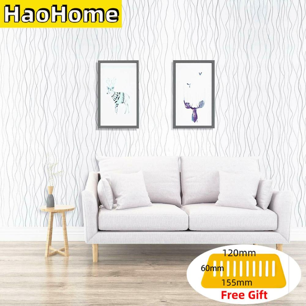 HaoHome White Wave Pattern Peel and Stick Wallpaper Contact Paper Self Adhesive Silver Stripe Decor Dormitory Renovation