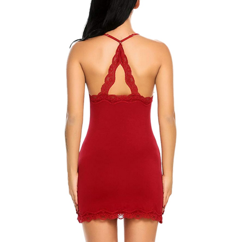 Ladies Sleepwear Dress Women's Lace Nightdress Dtrap Deep V-Neck Lingerie Hot Robe Nightie Gown Sleepshirts 3