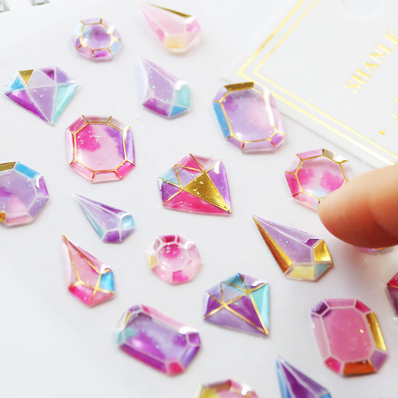 1PCS Stickers on A Laptop Gold Foil Crystal Drop Sticker Diamond 3D Waterproof Stickers Decorative Writings DIY Phone Case E in Stickers from Toys Hobbies