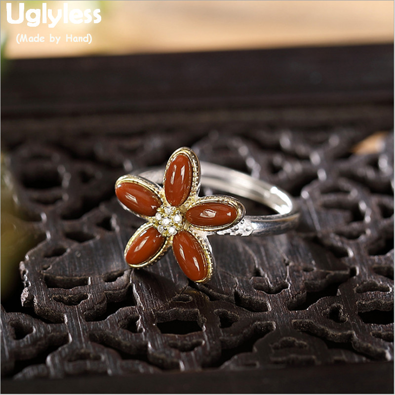 Uglyless Pretty Coral Red Agate Flower Rings for Women Real 925 Sterling Silver Floral Open Rings Adjustable Gemstone Jewel R784