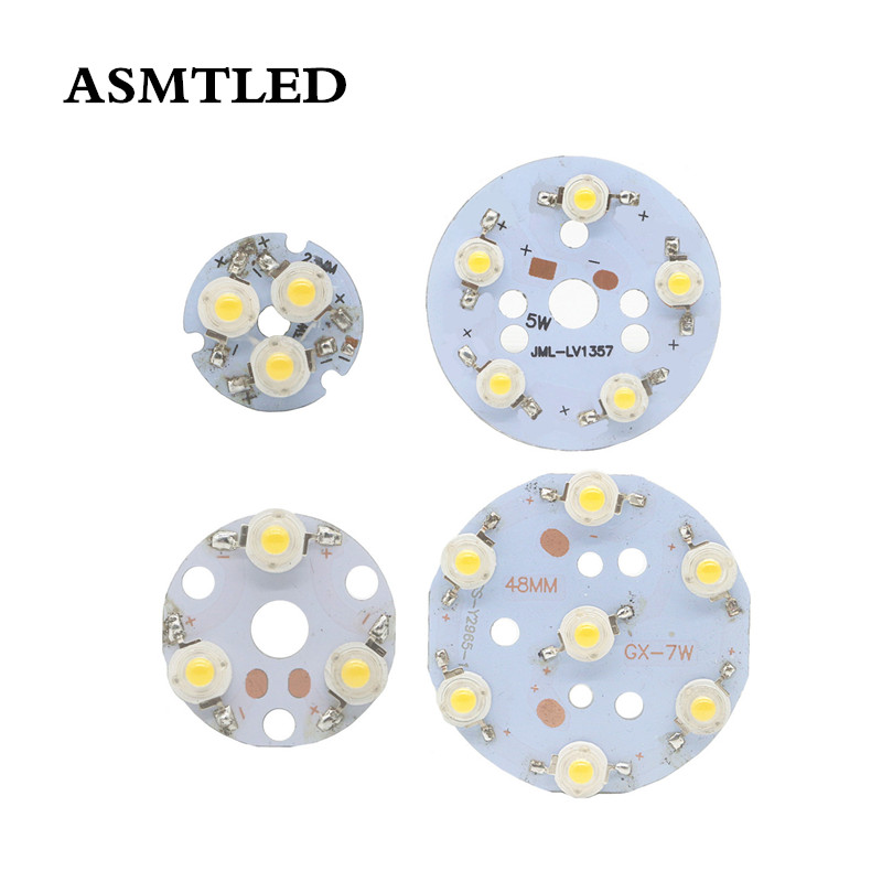1pcs 1W <font><b>LED</b></font> Chip <font><b>3W</b></font> 5W 7W Constant Current Input Light Bead Board Aluminum White / Warm white Lamp plate For <font><b>LED</b></font> Bulb <font><b>Spotlight</b></font> image