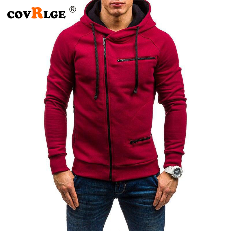 Covrlge Fashion Brand Men's Hoodies 2019 Spring Autumn Male Casual Hoodies Sweatshirts Men's Zipper Solid Color Hoodies MWW204