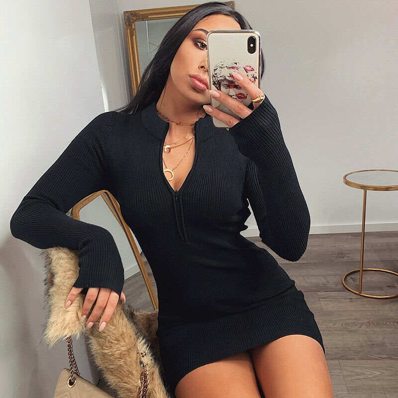 Fashion Women Spring Zip Up Sweater Dress Ladies Bodycon Long Sleeve Knitted Sweaters Slim Mini Dresses 2020 Warm Casual Clothes 9