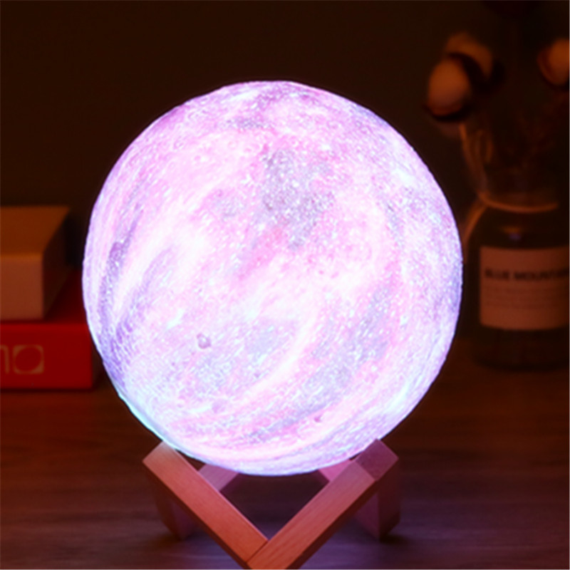16-colour 3D Printing Star And Moon Lamp Colourful Change Tactile Decorator Gift Creative USB LED Night Light Galaxy Lamp