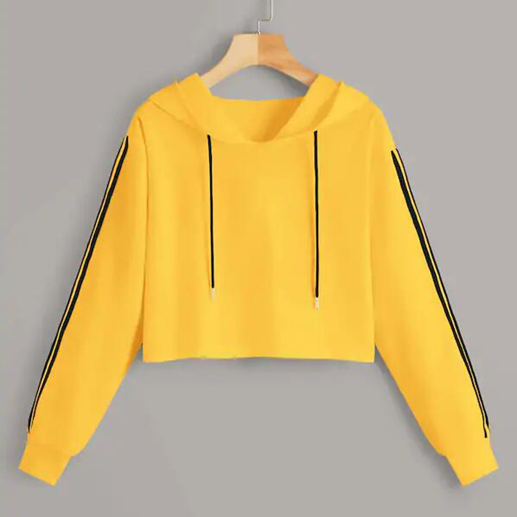 Autumn Women Short Hoodies Fashion Stripe Long Sleeve Hooded Sweatshirt Loose Female Short Hoodies Pullover Blouse