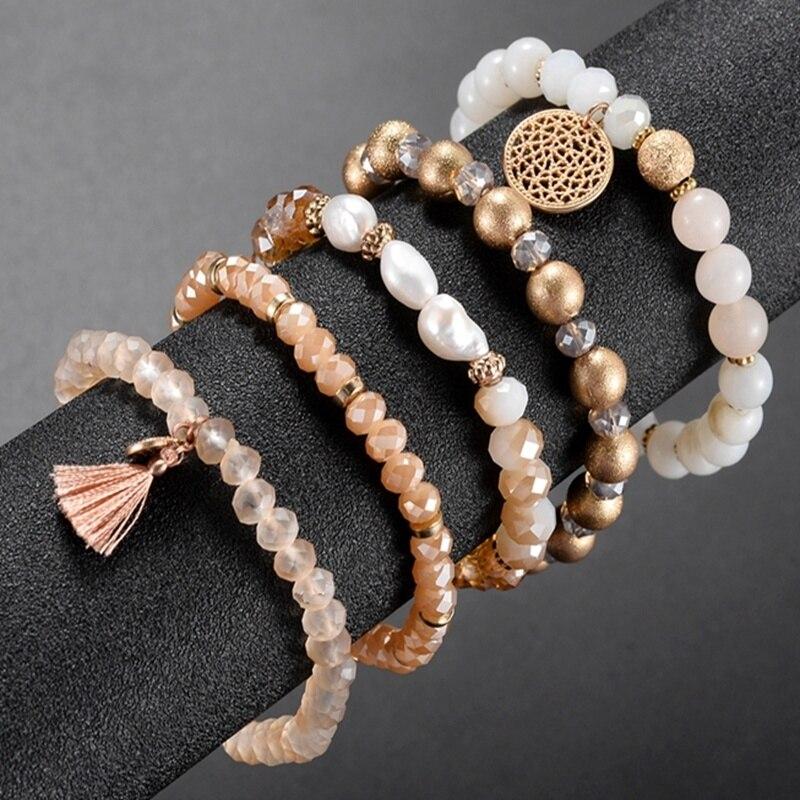 Fashion Crystal Beaded Elastic Bracelet Set Women Girls Popular Faceted Glass Pearl Beads Tassel Bracelet Handmade Jewelry Gift