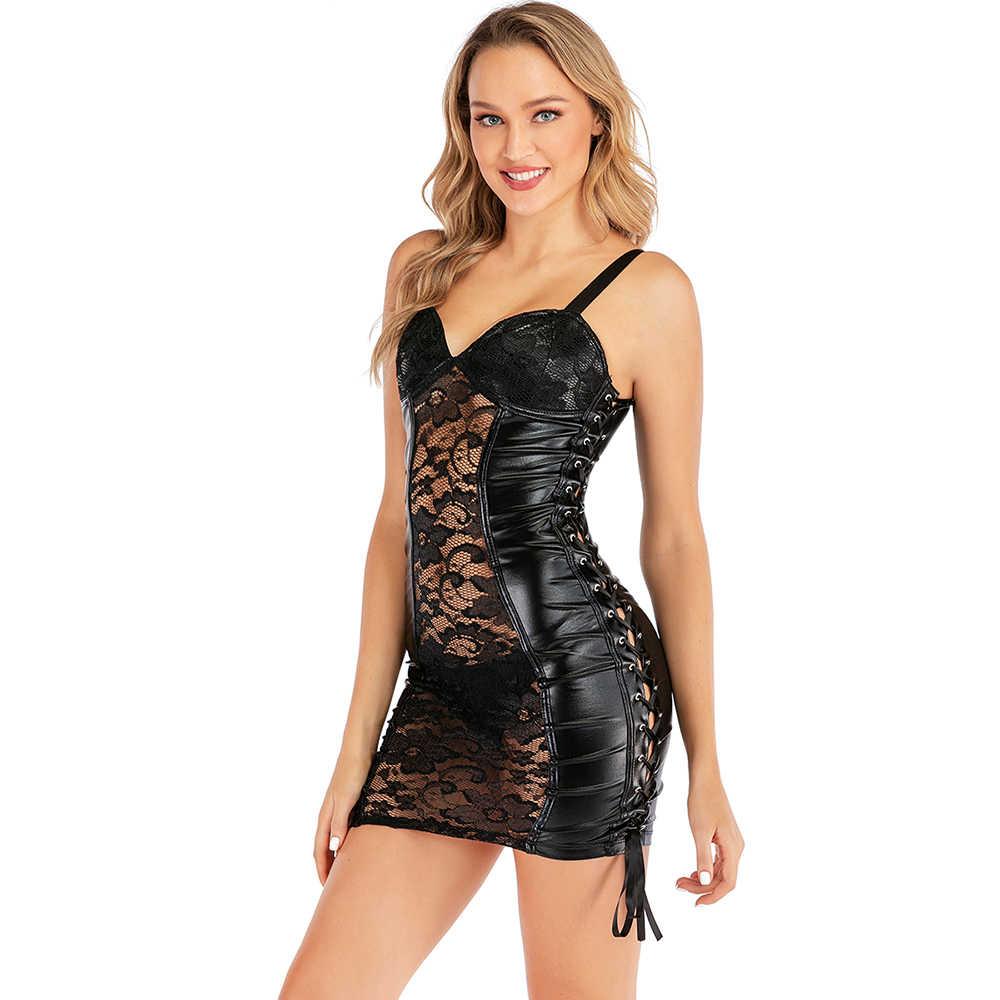 Wetlook PU Faux Leder Bodycon Kleid Spaghetti Strap Floral Spitze Aushöhlen Seite Strappy Sexy Nachtclub Clubwear Vinyl Kleid