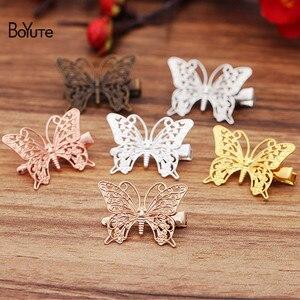BoYuTe (20 części/partia) 36*26MM metalowe filigranowe spinki do włosów w kształcie motyla Vintage ręcznie robiona biżuteria diy akcesoria hurtownie