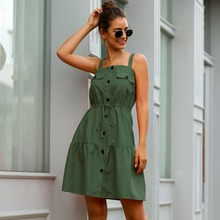 Fashionable Button Front Summer Dress Women Sleeveless Midi Dress Party Dresses with Pockets fashionable bare midriff design sleeveless faux twinset dress for women
