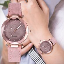 Ladies Minimalist fashion Casual Romantic Starry Sky Wrist Watch Leather Rhinestone Strap Souvenir Birthday Gifts