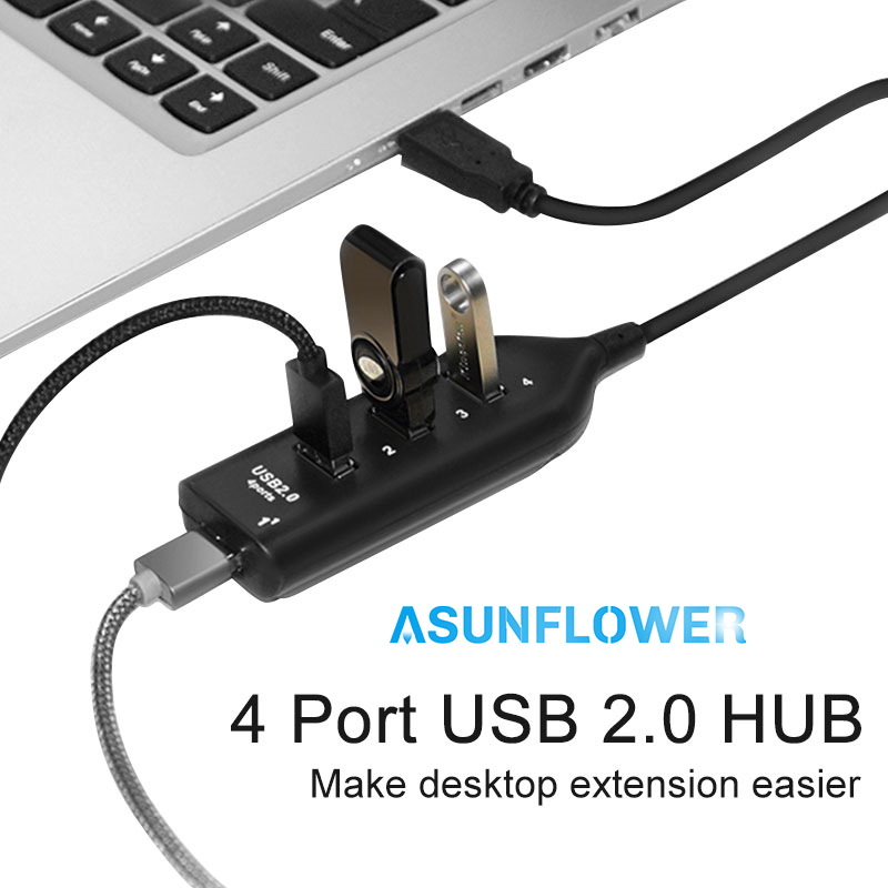 Portable Desktop Laptop Hubs USB 2.0 HUB For MacBook HP Lenovo Dock Splitter USB 4 Port hab Mini Desktop USB Extension Adapter