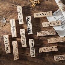 Journamm moon печать в виде цветка винтажные деревянные резиновые