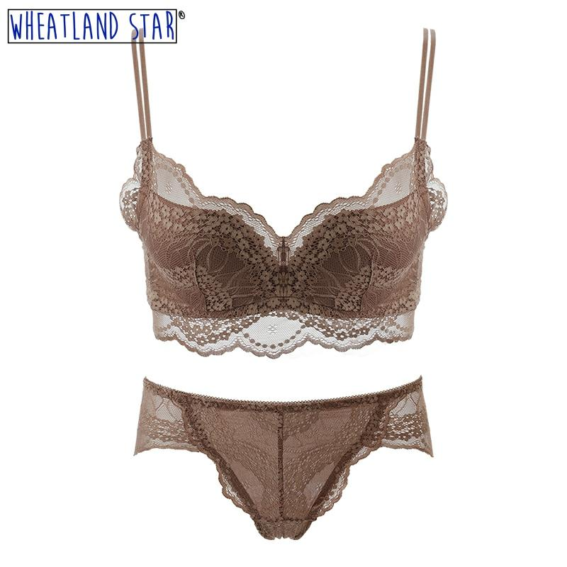 Wheatland Star Anti Sagging Wirefree Bra Set Brown Lace Cotton Lingerie Panty Summer Women Underwear 2020 New Women Intimates