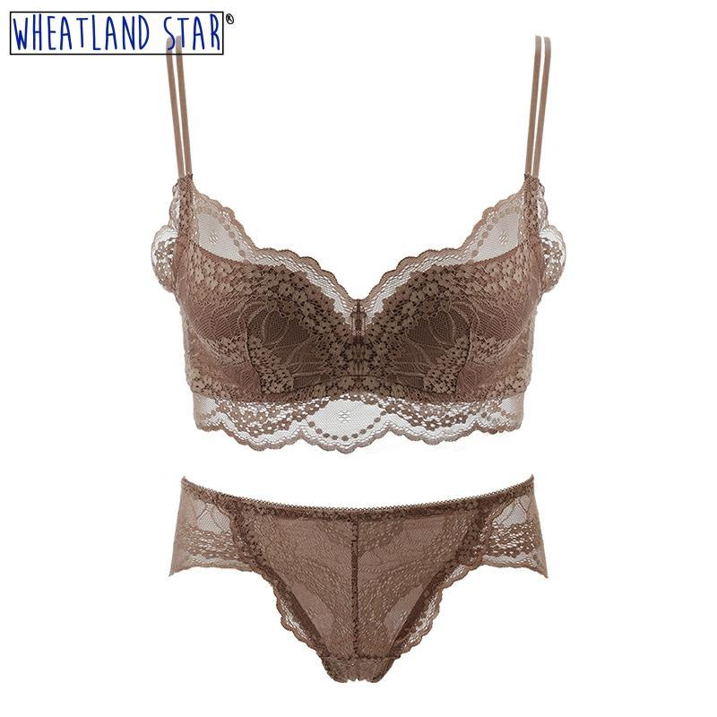 Wheatland Star Anti Sagging Wirefree Bra Set Brown Lace Cotton Lingerie Panty Summer Women Underwear 2020 New Women Intimates