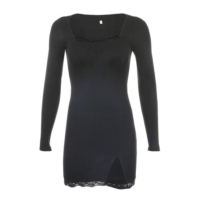 Darlingaga-vestido negro ajustado de retazos de encaje con cuello cuadrado para mujer, elegante Vestido corto de algodón a la moda con abertura lateral para otoño 5