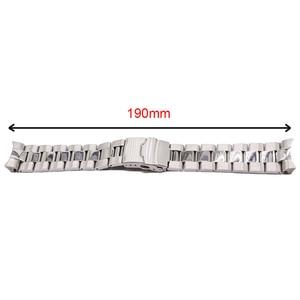 Image 5 - Rolamy 22mm prata sólida curvo final sólido links substituição pulseira de pulseira pulseira dupla push fecho para seiko