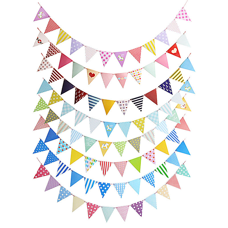 Cartoon Paper Banner String Garland Triangle Flags Hanging Bunting Wedding Party