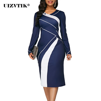 Striped Autumn Summer Dress Women 2020 Casual Plus Size Slim Office Pencil Dresses Sexy V Neck Geometric Print Long Party Dress autumn summer new women shirt dress long sleeved female dresses slim fashion party office lady sundress plus size casual rob