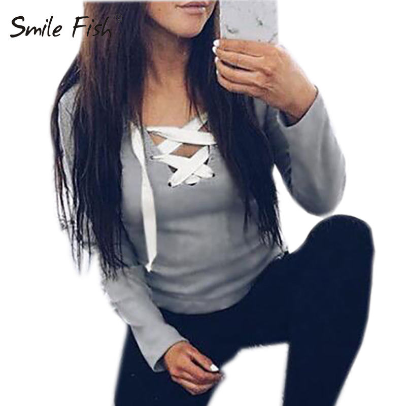 Women Long Sleeve Lace Up Casual Blouse Bandage Hoodie Sweatshirt Tops
