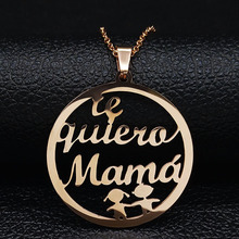 2019 Fashion Te Quiero Mama Stainless Steel Necklace for Women Rose Gold Color Statement Jewelry colgante N19324
