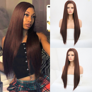 Charisma Dark Brown Wig Long Straight Synthetic Lace Front Wig For Women Heat Resistant Hair Wig Natural Hairline Cosplay Wigs