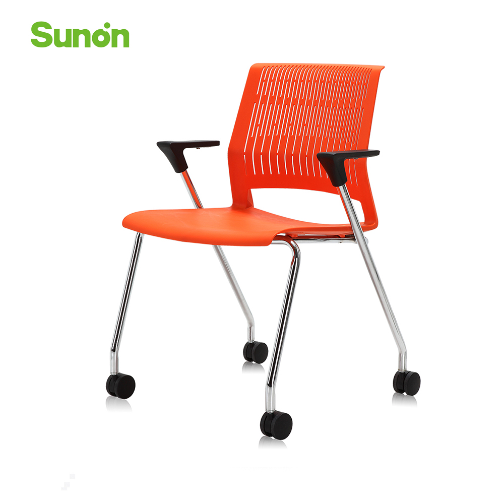 Orange Game Chair With Armrest Computer Chair Simple Modern Style Chair Plastic Steel Comfortable Seat Office Furniture