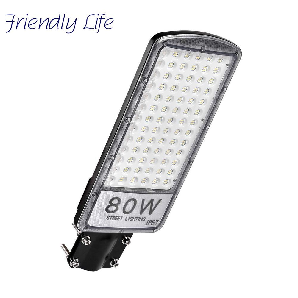 LED Energy-saving Street Light 80W Street Light With Rod 220V Cool White LED Lamp Security Outdoor Waterproof Cold Lighting