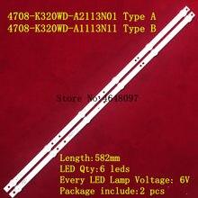 Nova 2 Pçs/set 6LED tira retroiluminação LED para K320WDX A1 A2 4708-K320WD-A2113N01 A1113N11 UM tipo B