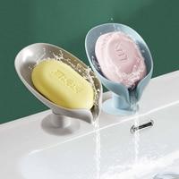 Blatt Form Seife Box Bad Seife Halter mit Saugnapf Ablauf Seife Dish Kunststoff Seife Tablett Bad Zubehör