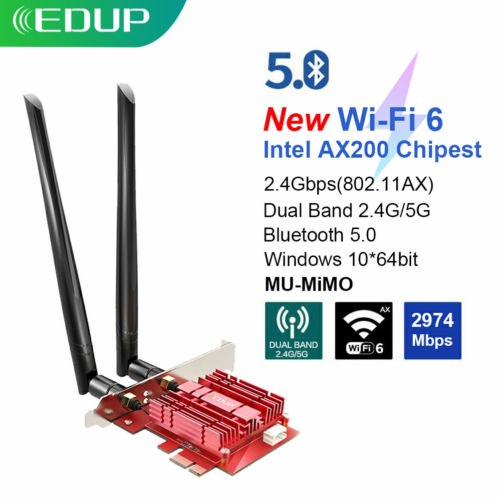 EDUP 3000Mbps WiFi 6 PCI Express Bluetooth 5.0 Adapter Dual Band 2.4G/5GHz 802.11ac/ax <font><b>Intel</b></font> <font><b>AX200</b></font> PCIe Wireless Network Card image
