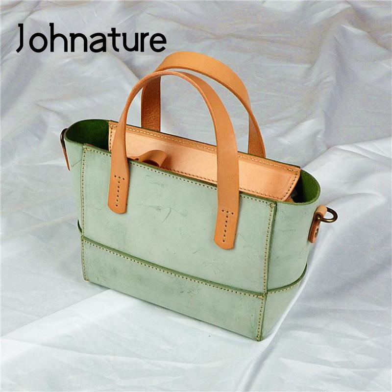 Johnature Simple 2020 New First Layer Cow Leather Women Bag Retro Handmade Mist Wax Leather Handbag Leisure Shoulder Bags