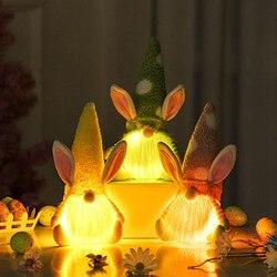 Новые Пасхальные гномы со светодиодной подсветкой, украшения в виде кролика, плюшевые безликие куклы, детская игрушка, креативное украшени...