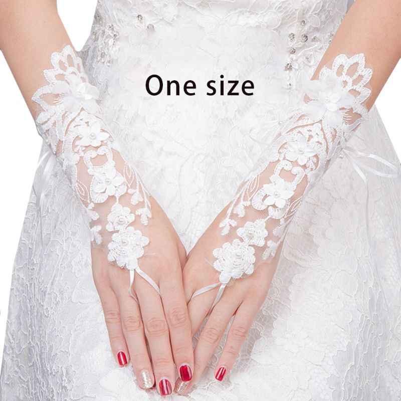 Wanita Bridal Pendek Pernikahan Sarung Tangan Sarung Imitasi Mutiara Rhinestone Perhiasan Bordir Floral Lace Prom Partai Kostum