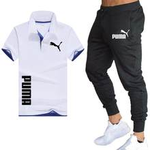 PUMA buchstaben 2021 heißer sommer Polo shirt + hosen anzug casual atmungsaktiv marke mode revers fitness jogging hosen Polo hemd männer
