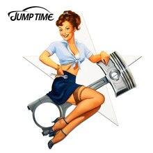 Jumptime 13cm x 11.2cm 3d adesivo de carro sexy pino up mecânico menina windows decalque pára motocicleta estilo do carro decoração da parede casa