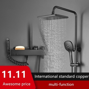 Bathroom Shower Faucets Thermostatic With Sliding Bar Hot Cold Water Shower Sets Wall Tap Mix Black Rainfall Shower
