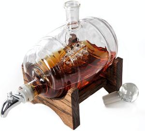 Image 4 - 1000ml Creative ימי חבית צורת האדום יין ויסקי זכוכית בקבוק יין לגין בר מטבח מסיבת חג המולד מתנה