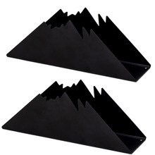 2 Pcs Black Snow Capped Mountain Design Triple-cornered Napkin Holders Tissue Organizer Tissue Stand Paper Towel Rack for Kitche(China)