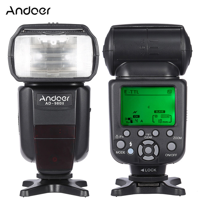 Andoer AD 980II E TTL HSS 1/8000s Master Slave GN58 flaş Speedlite Canon için 5D Mark III/5D mark II/6D/5D DSLR kamera