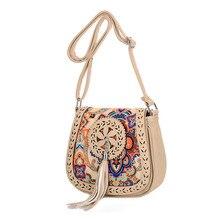 Винтажный китайский национальный стиль, Этническая сумка на плечо, вышивка, бохо хиппи-кисточка, сумка-мессенджер для женщин#35